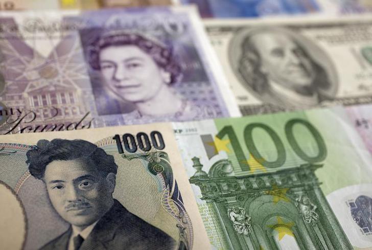 资料图片:2011年1月,波兰华沙,美元、欧元、英镑、人民币和日圆等币种。REUTERS/Kacper Pempel
