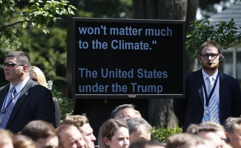 U.S. President Donald Trump's teleprompter is pictured during the president's announcement  that the United States will withdraw from the Paris Climate Agreement, in the Rose Garden of the White House in Washington, U.S., June 1, 2017. REUTERS/Joshua Roberts