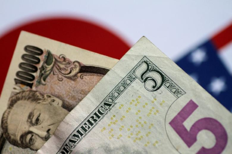U.S. Dollar and Japan Yen notes are seen in this picture illustration June 2, 2017. REUTERS/Thomas White/Illustration