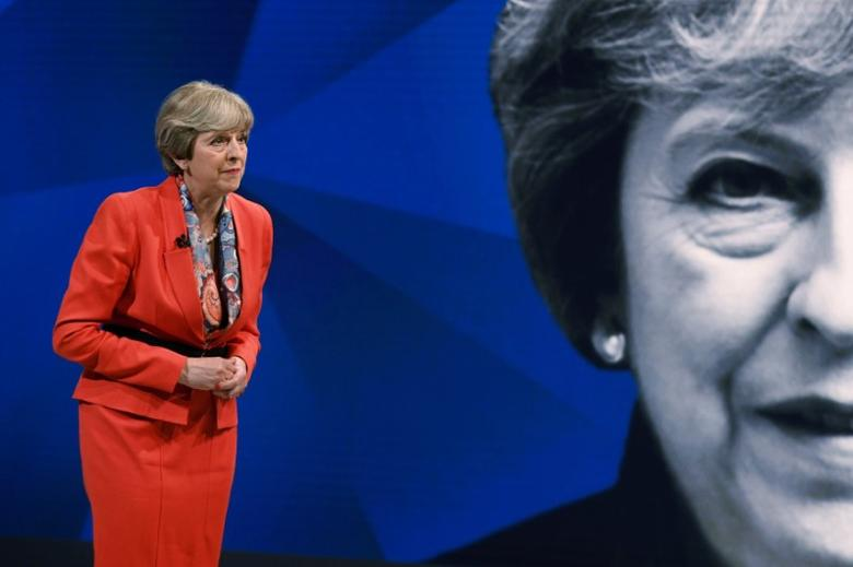 Prime Minister Theresa May appears on a joint Channel 4 and Sky News general election programme recorded at Sky studios in Osterley, west London, May 29, 2017. REUTERS/Stefan Rousseau/Pool/Files