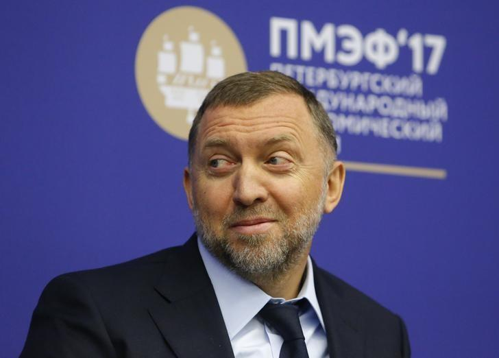 Russian tycoon Oleg Deripaska attends a session of the St. Petersburg International Economic Forum (SPIEF), Russia, June 1, 2017. REUTERS/Sergei Karpukhin