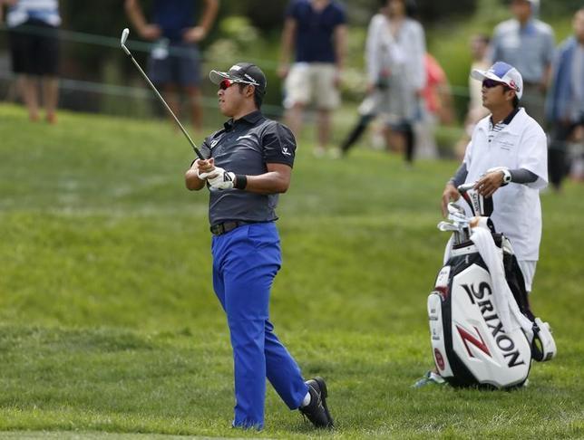 6月3日、米男子ゴルフのメモリアル・トーナメント第3ラウンド、40位から出た松山英樹は76で回り、通算4オーバーの220で65位タイに後退した(2017年 ロイター/Joe Maiorana-USA TODAY Sports)