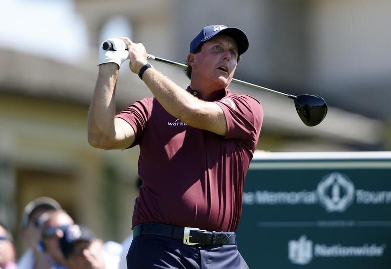 Jun 2, 2017; Dublin, OH, USA; Phil Mickelson tees off on the tenth hole during the second round of The Memorial Tournament presented by Nationwide golf tournament at Muirfield Village Golf Club. Mandatory Credit: Joe Maiorana-USA TODAY Sports