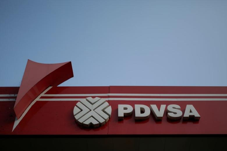 The corporate logo of the state oil company PDVSA is seen at a gas station in Caracas, Venezuela April 12, 2017. REUTERS/Marco Bello