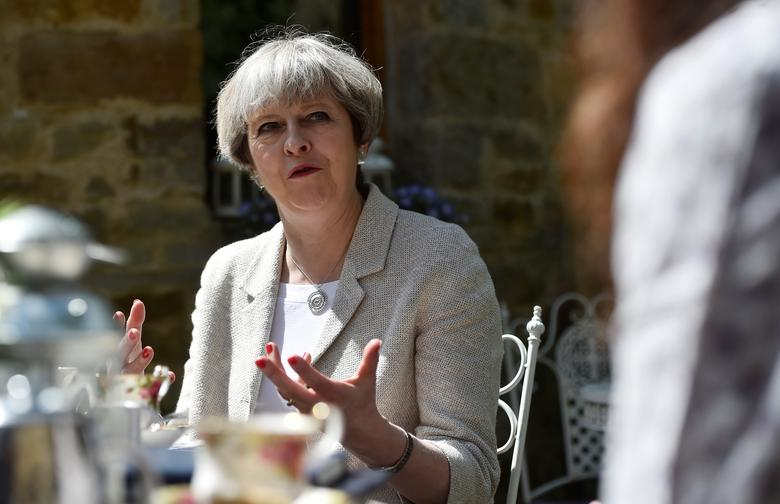 Britain's Prime Minister Theresa May speaks during an election campaign visit to Horsfields Nursery in Silkstone, South Yorkshire, Britain, June 3, 2017. REUTERS/Hannah McKay