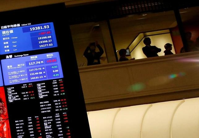 6月5日、前場の東京株式市場で、日経平均株価は前営業日比28円37銭高の2万0205円65銭となり、小幅に続伸した。東証で1月撮影(2017年 ロイター/Kim Kyung-Hoon)