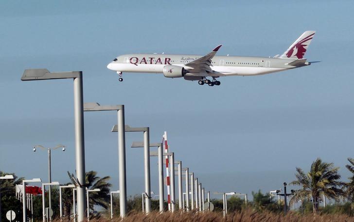 2017年6月5日,多哈,图为卡塔尔航空的飞机。REUTERS/Stringer