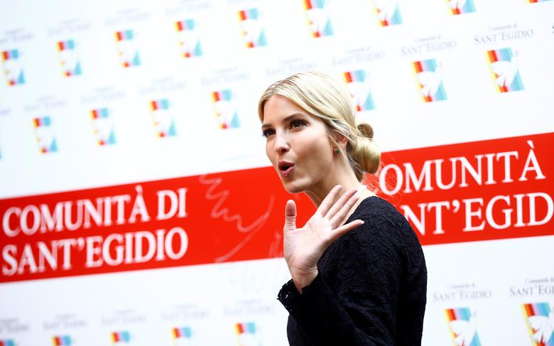 Ivanka Trump arrives to talk with the media during a meeting at the Sant' Egidio Christian community in Rome, Italy, May 24, 2017. REUTERS/Yara Nardi