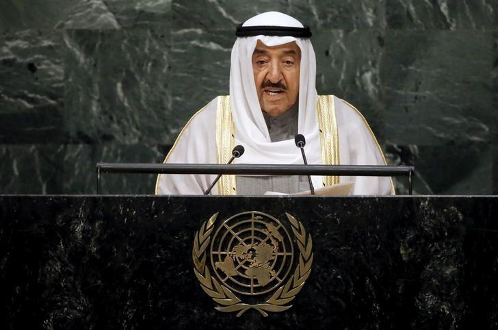 FILE PHOTO: Kuwait's Emir Sheikh Sabah Al-Ahmad Al-Jaber Al-Sabah addresses a plenary meeting of the United Nations Sustainable Development Summit 2015 at the United Nations headquarters in Manhattan, New York September 26, 2015.  REUTERS/Carlo Allegri