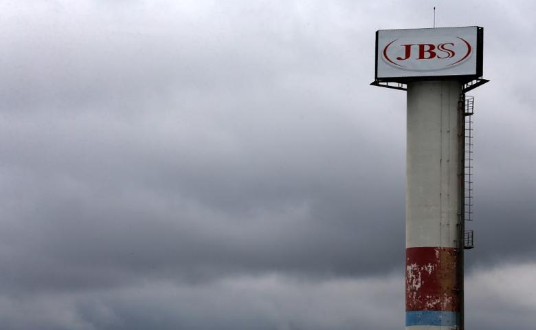 The logo of Brazilian meatpacker JBS SA is seen in the unit in the city of Jundiai, Brazil June 1, 2017.  REUTERS/Paulo Whitaker