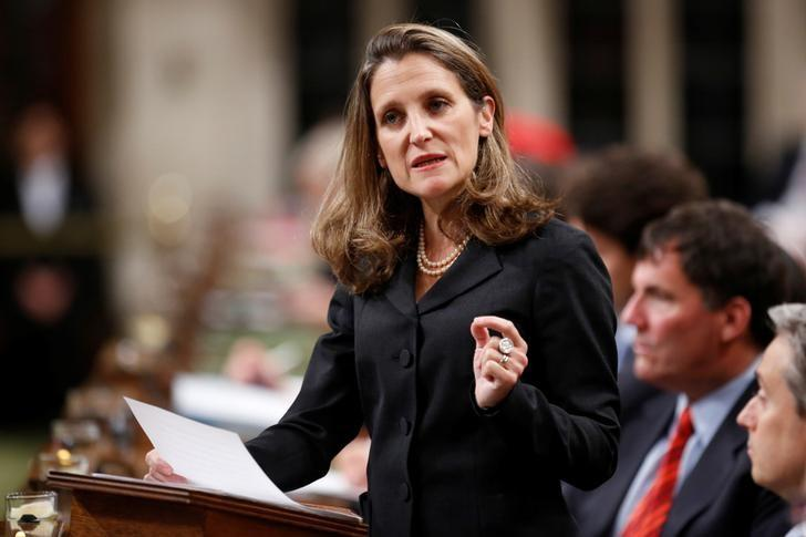 Canada's Foreign Affairs Minister Chrystia Freeland delivers a speech on Canada's foreign policy in the House of Commons on Parliament Hill in Ottawa, Ontario, Canada June 6, 2017. REUTERS/Chris Wattie