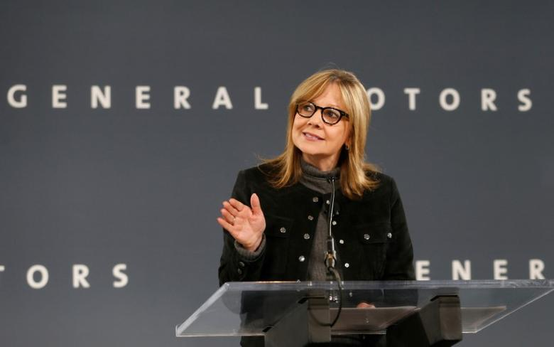 General Motors Chairman and CEO Mary Barra announces that Chevrolet will begin testing a fleet of Bolt autonomous vehicles in Michigan during a news conference in Detroit, Michigan, U.S., December 15, 2016.  REUTERS/Rebecca Cook - RTX2V9ES