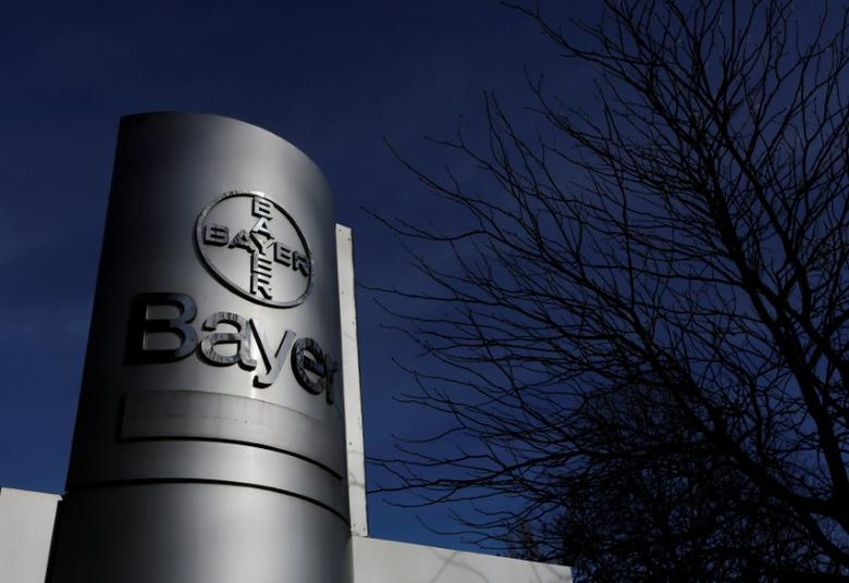The logo of Bayer AG is pictured at the Bayer Healthcare subgroup production plant in Wuppertal, Germany February 24, 2014. REUTERS/Ina Fassbender/File Photo
