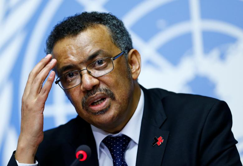 FILE PHOTO: Newly elected Director-General of the World Health Organization (WHO) Tedros Adhanom Ghebreyesus attends a news conference at the United Nations in Geneva, Switzerland, May 24, 2017.  REUTERS/Denis Balibouse