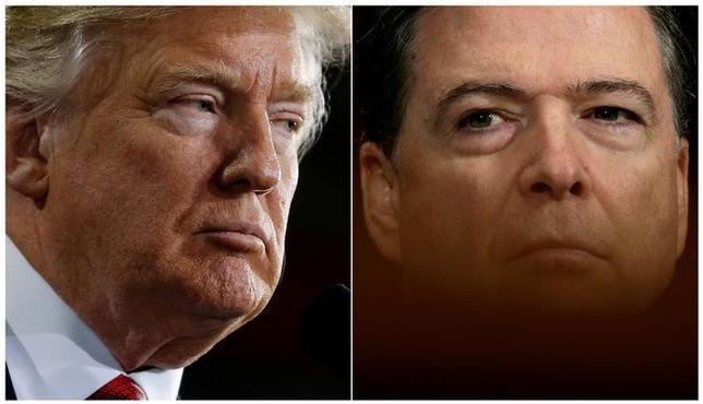 FILE PHOTO: U.S. President Donald Trump (L) speaks in Ypilanti Township, Michigan March 15, 2017 and FBI Director James Comey testifies before a Senate Judiciary Committee hearing in Washington, D.C., May 3, 2017 in a combination of file photos. REUTERS/Jonathan Ernst/Kevin Lamarque/File Photos