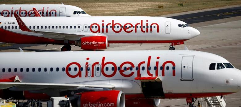 FILE PHOTO: German carrier Air Berlin's aircrafts are pictured at Tegel airport in Berlin, Germany, September 29, 2016.    REUTERS/Axel Schmidt/File Photo