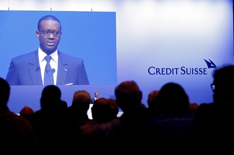 FILE PHOTO: CEO Tidjane Thiam of Swiss bank Credit Suisse addresses the audience at the bank's extraordinary shareholder meeting in Zurich, Switzerland May 18, 2017.  REUTERS/Arnd Wiegmann