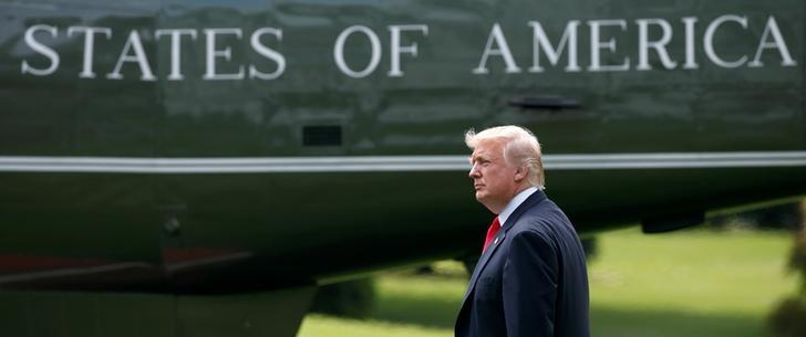 U.S. President Donald Trump walks to Marine One as he departs for a day trip to Ohio from the South Lawn of the White House in Washington, U.S., June 7, 2017.   REUTERS/Joshua Roberts