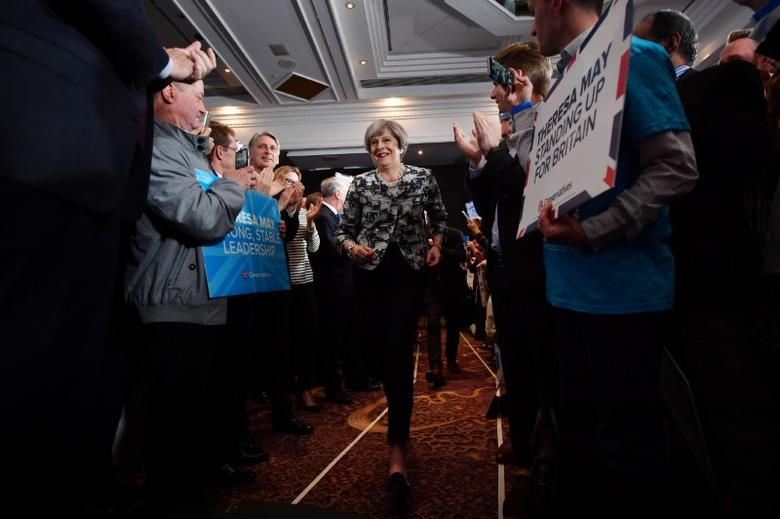 Britain's Prime Minister and leader of the Conservative Party Theresa May attends an election campaign rally in Solihull, June 8, 2017. REUTERS/Ben Stansall/Pool