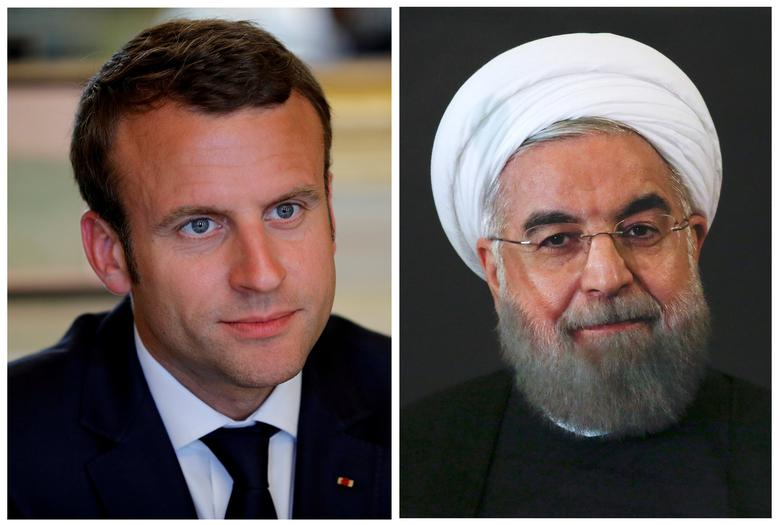 FILE PHOTO: A combination of file photos showing French President Emmanuel Macron attending a meeting at the Elysee Palace in Paris, France, May 23, 2017, and Iran President Hassan Rouhani looking on at the Campidoglio palace in Rome, Italy, January 25, 2016. REUTERS/Philippe Wojazer/Alessandro Bianchi/File Photos