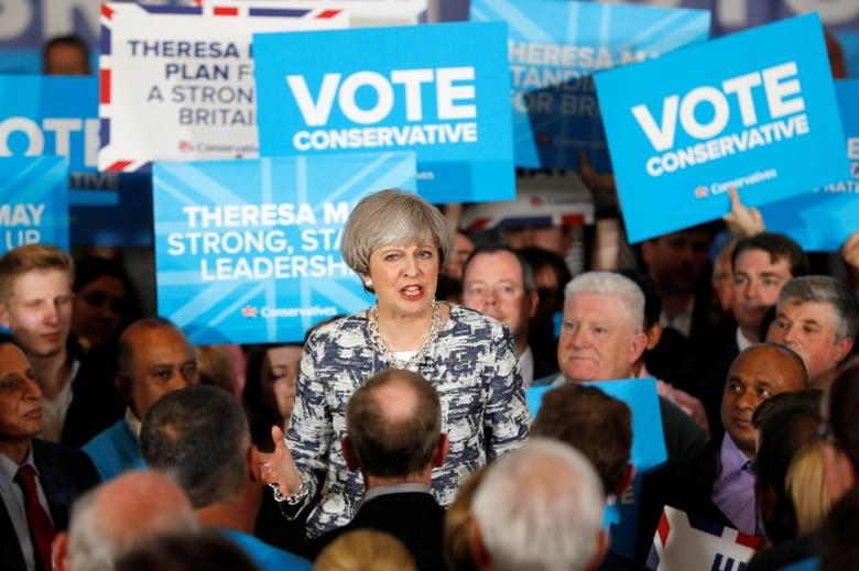 Britain's Prime Minister Theresa May speaks at an election campaign event in Solihull, June 7, 2017. REUTERS/Darren Staples