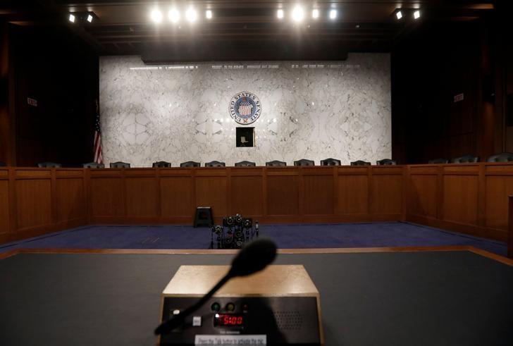 2017年6月7日,美国华盛顿,美国参议院情报委员会听证会证人席,FBI前局长科米周四将在此作证词陈述。REUTERS/Jim Bourg