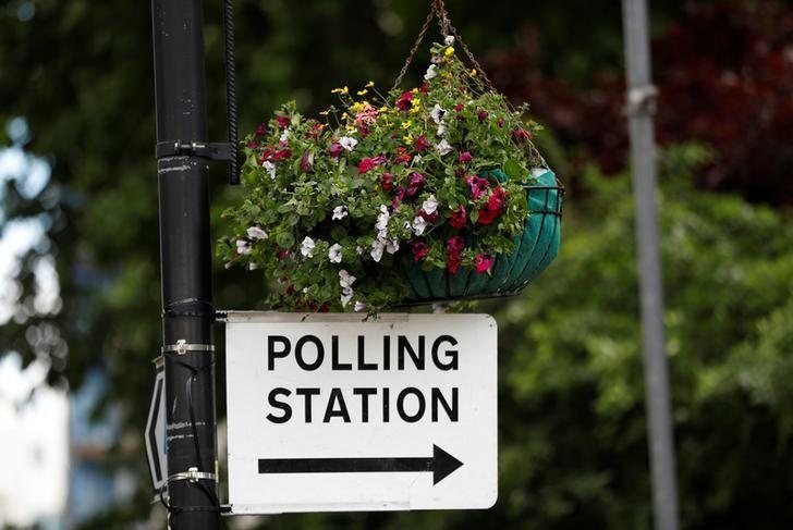 2017年6月7日,英国伦敦,路灯柱上悬挂着指向投票站的标志。REUTERS/Peter Nicholls