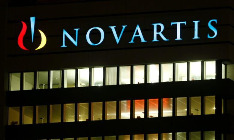 FILE PHOTO: The logo of Swiss drugmaker Novartis AG is seen at its headquarters in Basel, Switzerland, January 25, 2017.    REUTERS/Arnd Wiegmann/File Photo
