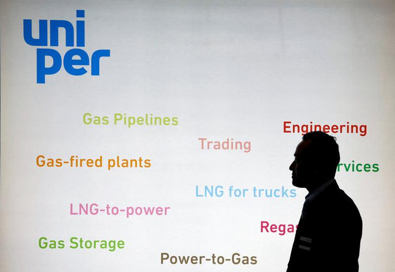 FILE PHOTO: The logo of Uniper SE is seen in its booth at Gastech, the world's biggest expo for the gas industry, in Chiba, Japan April 4, 2017. REUTERS/Toru Hanai/File Photo