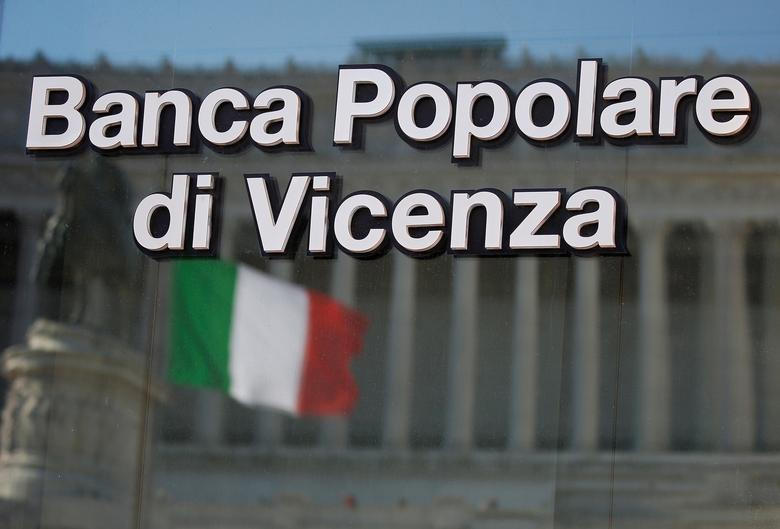 FILE PHOTO: A Banca Popolare di Vicenza sign is seen in Rome, Italy, March 29, 2017. REUTERS/Alessandro Bianchi/File Photo
