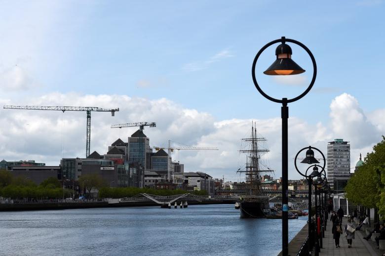 Construction cranes are seen in the Irish Financial Services Centre in Dublin, Ireland April 24, 2017. REUTERS/Clodagh Kilcoyne