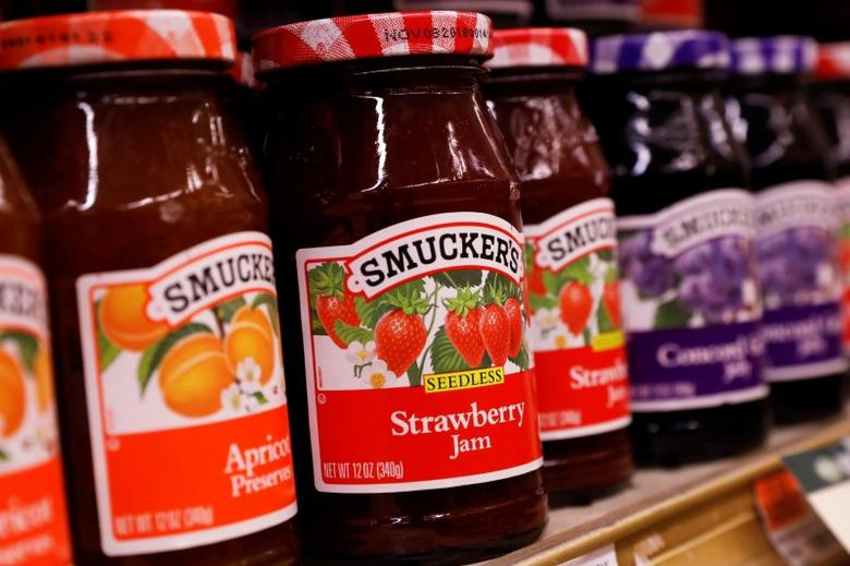 Containers of Smuckers's Jam are displayed in a supermarket in New York City, U.S. February 15, 2017. REUTERS/Brendan McDermid