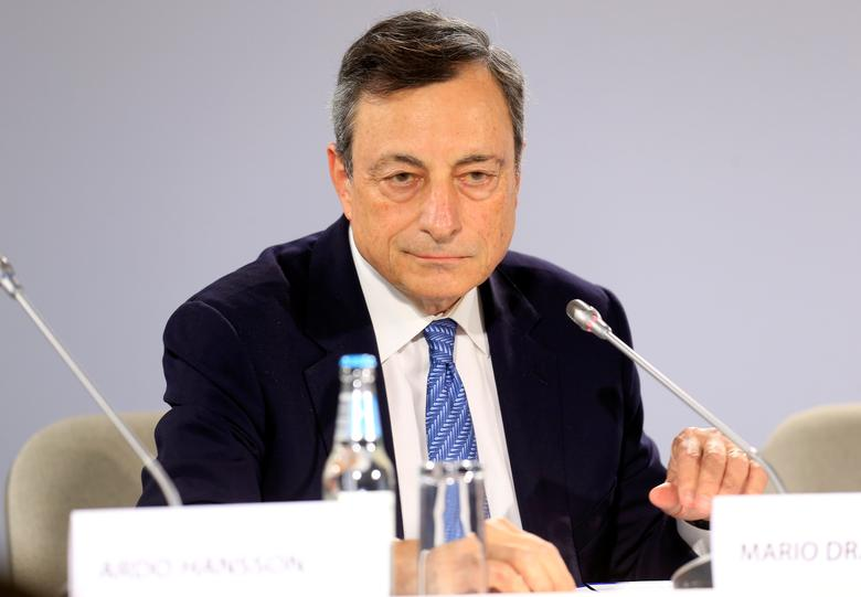 European Central Bank President Mario Draghi listens during a news conference following the Governing Council meeting in Tallinn, Estonia, June 8, 2017. REUTERS/Ints Kalnins