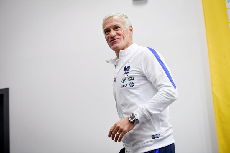 France's national soccer team head coach Didier Deschamps leaves a press conference on the eve of the the Fifa World Cup qualification soccer match against Sweden at Friends Arena, in Stockholm, Sweden June 8, 2017. TT News Agency/Jonas Ekstromer/via REUTERS
