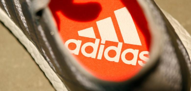 An Adidas logo is pictured inside a shoe before the company annual general meeting in Fuerth near Nuremberg, Germany, May 11, 2017. REUTERS/Michaela Rehle