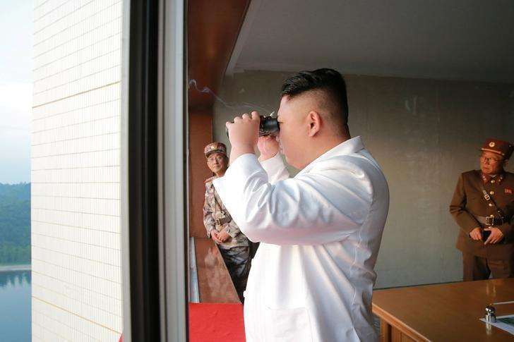 North Korean leader Kim Jong Un looks on during a ballistic rocket test-fire through a precision control guidance system in this undated photo released by North Korea's Korean Central News Agency (KCNA) May 30, 2017. KCNA/via REUTERS