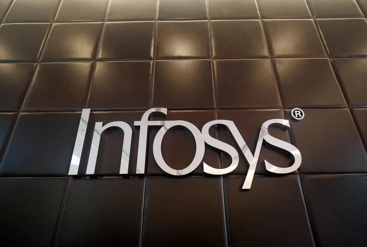 The logo of Infosys is pictured inside the company's headquarters in Bengaluru, India, April 13, 2017. REUTERS/Abhishek N. Chinnappa/Files