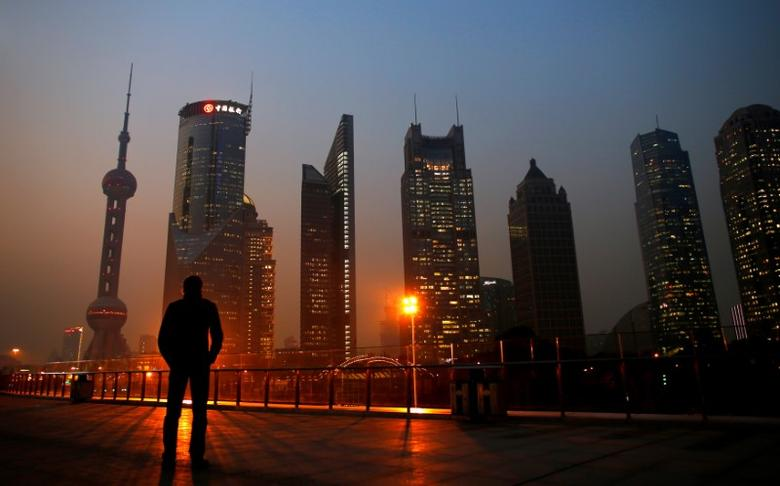 FILE PHOTO: A man looks at the Pudong financial district of Shanghai November 20, 2013.    REUTERS/Carlos Barria/File Photo
