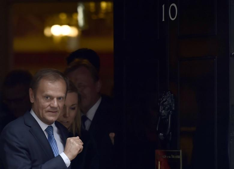 Donald Tusk, the President of the European Council, leaves after meeting Britain's Prime Minister, Theresa May inside 10 Downing Street, in central London, Britain April 6, 2017.        REUTERS/Hannah McKay/Files