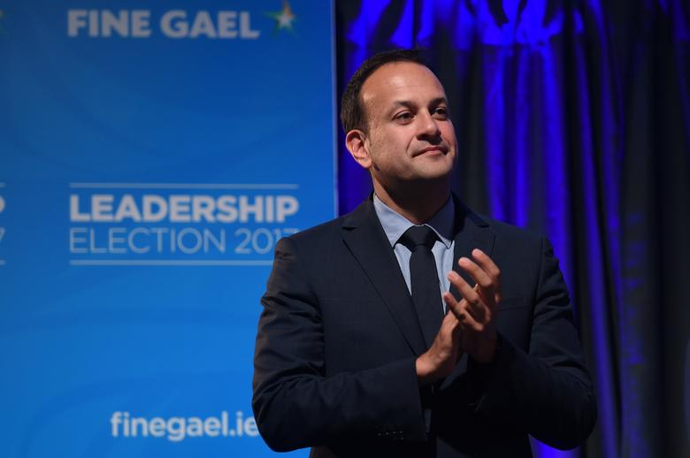 Leo Varadkar applauds on stage in Dublin, Ireland June 2, 2017. REUTERS/Clodagh Kilcoyne