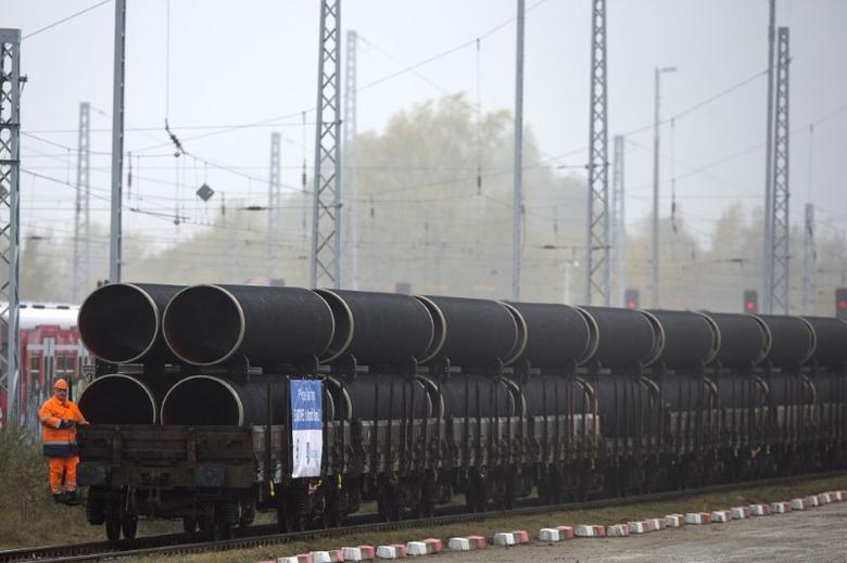 A handout by Nord Stream 2 claims to show the first pipes for the Nord Stream 2 pipeline being delivered by rail to the German logistics hub Mukran on the island of Rugen, Germany, in this undated photo provided to Reuters on March 23, 2017. Axel Schmidt/Courtesy of Nord Stream 2/Handout via REUTERS