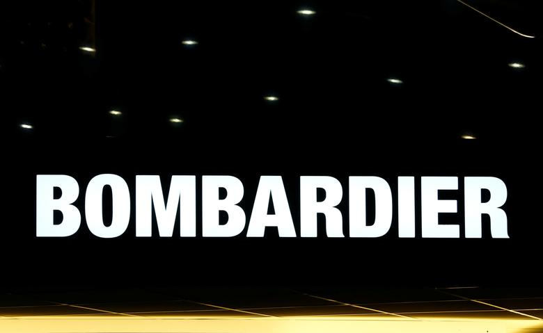 FILE PHOTO: A logo of jet manufacturer Bombardier is pictured on their booth during the European Business Aviation Convention & Exhibition (EBACE) in Geneva, Switzerland, May 22, 2017.  REUTERS/Denis Balibouse