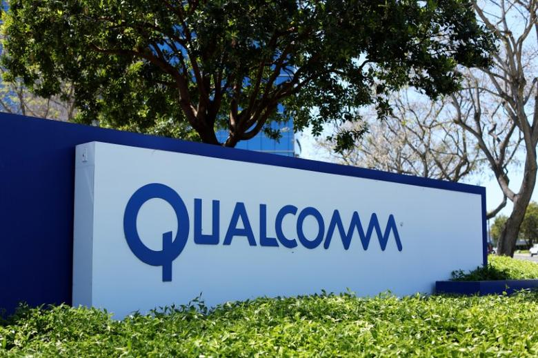 A Qualcomm sign is pictured at one of its many campus buildings in San Diego, California, U.S. April 18, 2017.  REUTERS/Mike Blake - RTS12V9Q