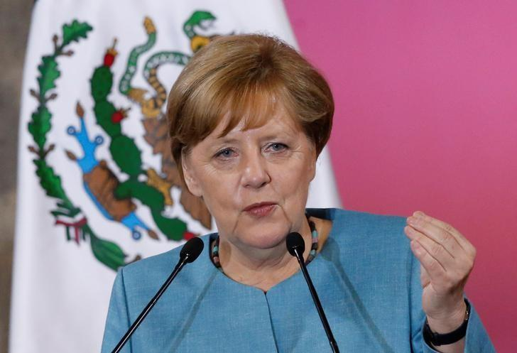 Germany's Chancellor Angela Merkel speaks next to Mexico's President Enrique Pena Nieto (not pictured) during a news conference at National Palace in Mexico City, Mexico June 9, 2017. REUTERS/Henry Romero