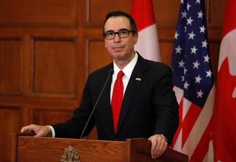 United States Secretary of the Treasury Steven Mnuchin speaks at a news conference on Parliament Hill in Ottawa June 9, 2017. REUTERS/Patrick Doyle