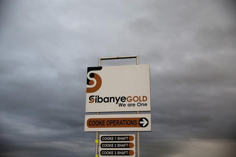 FILE PHOTO: A sign board is seen near the Sibanye gold mine in Westonaria, west of Johannesburg, South Africa, April 6, 2016. REUTERS/Siphiwe Sibeko/File Photo