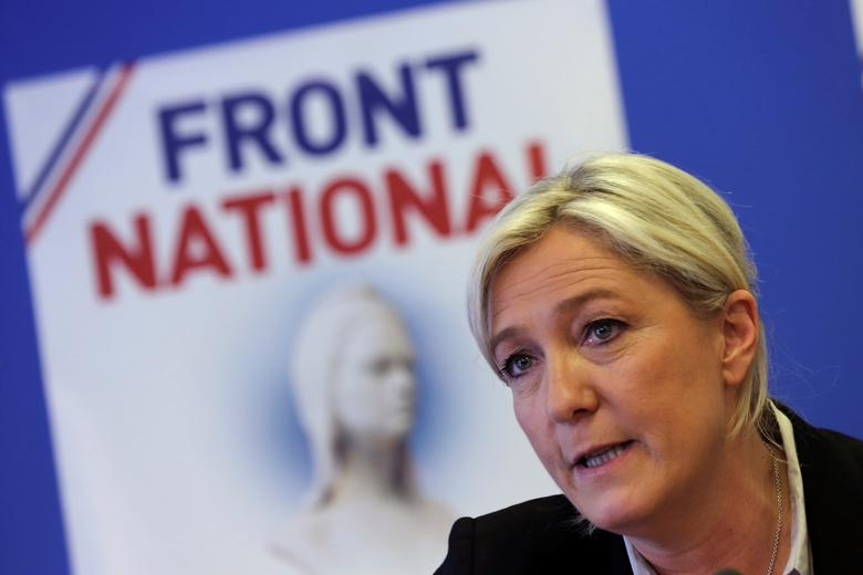Marine Le Pen, France's National Front political party head, attends a news conference at the party's headquarters in Nanterre, near Paris, France, May 27, 2014. REUTERS/Philippe Wojazer/File Photo