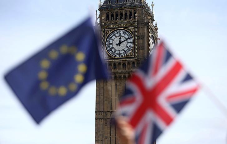 2016年6月19日,英国伦敦,退欧公投前议会广场集会中民众举着的英国和欧盟旗帜。REUTERS/Neil Hall