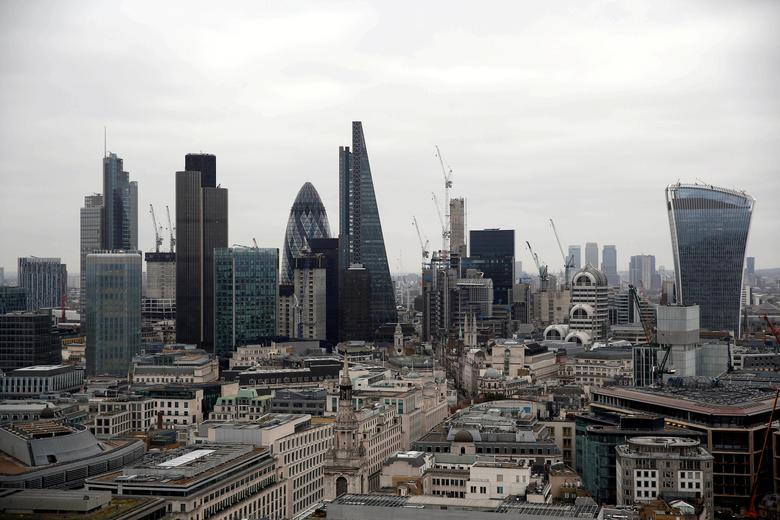 FILE PHOTO: A view of the London skyline shows the City of London financial district, seen from St Paul's Cathedral in London, Britain February 25, 2017. REUTERS/Neil Hall/File Photo