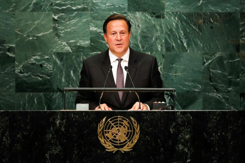 Panama President Juan Carlos Varela addresses the United Nations General Assembly in the Manhattan borough of New York, U.S. September 20, 2016.   REUTERS/Eduardo Munoz